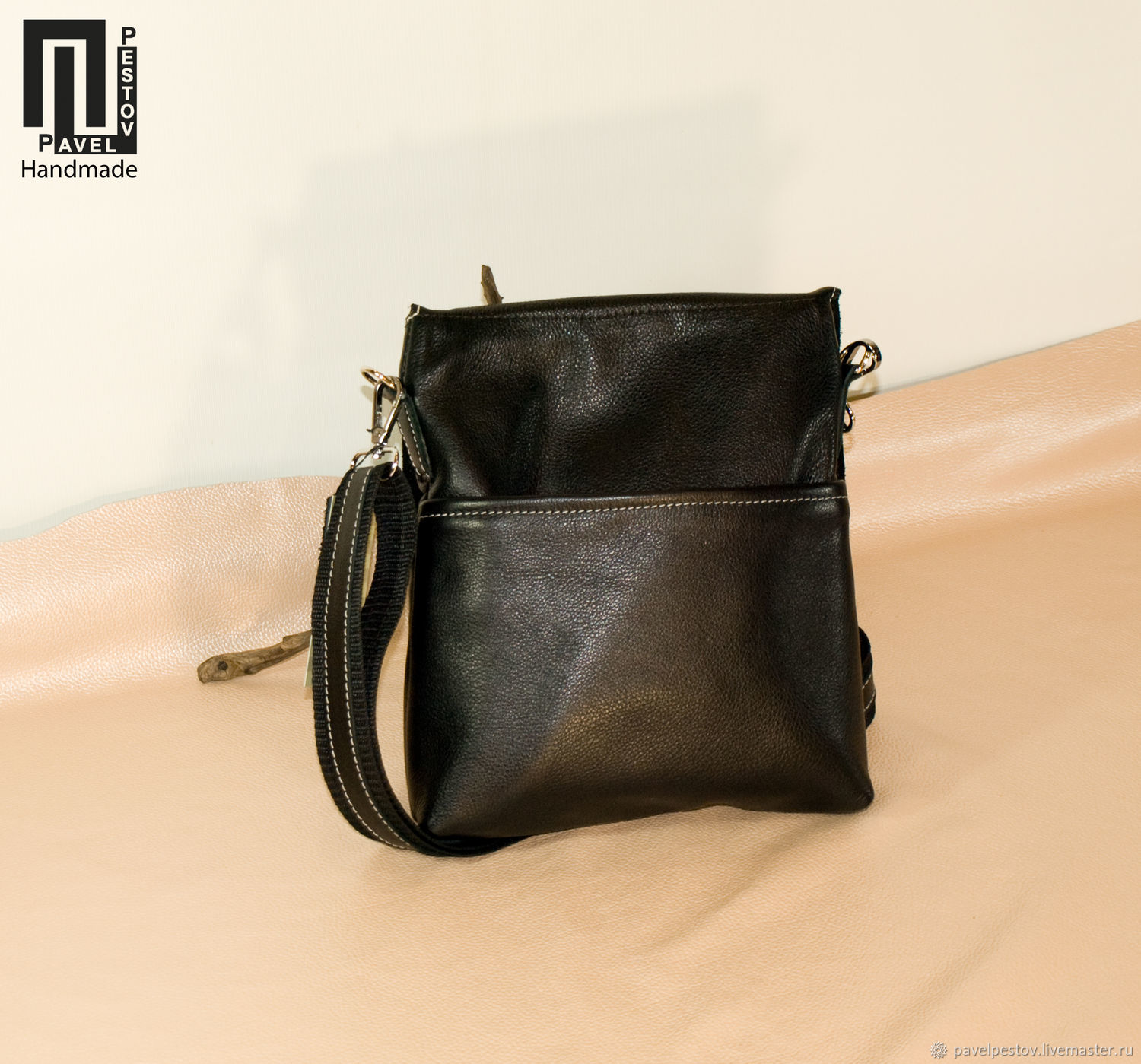 369469823473 Pavel Pestov Men s Bags handmade. Men s shoulder bag Black (envelope)-2.