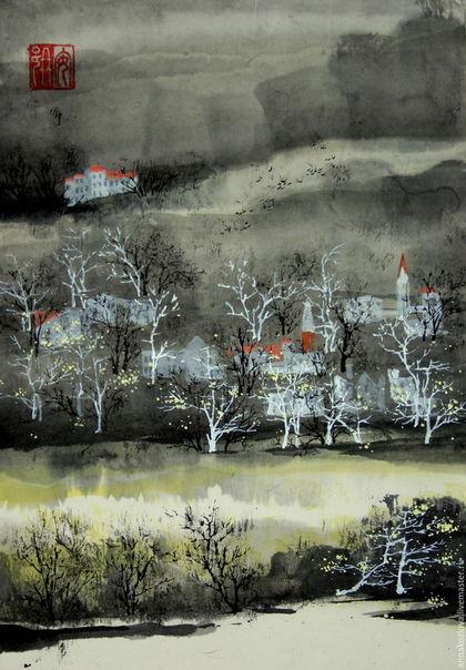черно-белыйкитайская живописькартина пейзаж графикакартина акварельюкартина деревоосенний пейзажкитайские художникиосеннее настроениегородской пейзажоформление стенкрасивая картинавосточный стильдорог