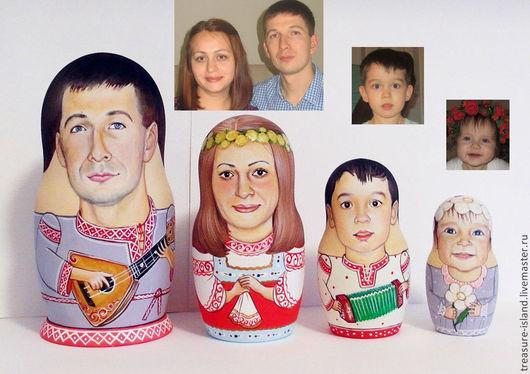 Подарочные наборы ручной работы. Ярмарка Мастеров - ручная работа. Купить Портретная матрешка (4 места). Handmade. Разноцветный