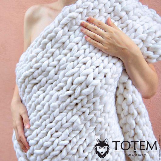 """Текстиль, ковры ручной работы. Ярмарка Мастеров - ручная работа. Купить Плед крупной вязки """"Newborn"""". Handmade. Белый, меринос"""
