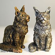 Для дома и интерьера ручной работы. Ярмарка Мастеров - ручная работа МЕЙН КУН - статуэтка (оловянная миниатюрная фигурка кошки). Handmade.
