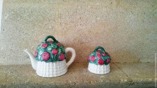 Винтажные сувениры. Ярмарка Мастеров - ручная работа. Купить Чайник и сахарница с розами. Handmade. Винтаж, чайничек, чайный набор