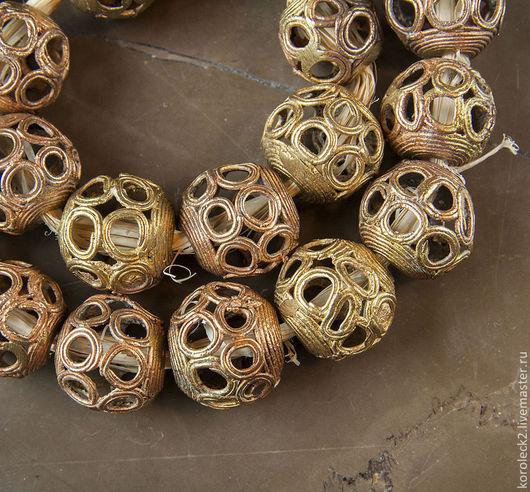 Для украшений ручной работы. Ярмарка Мастеров - ручная работа. Купить Африканские латунные крупные бусины-шары. Handmade. Золотой