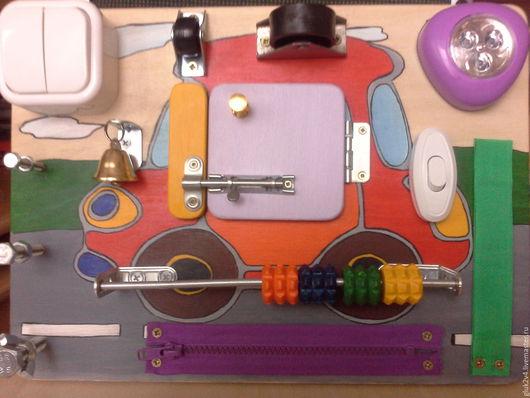 Развивающие игрушки ручной работы. Ярмарка Мастеров - ручная работа. Купить Бизиборд-мини Машинка. Handmade. Комбинированный, подарок мальчику