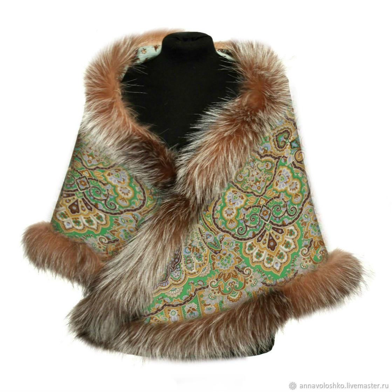 Красивые павлопосадские платки с мехом песца. Размер 148х148 см