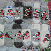 Аксессуары handmade. Livemaster - original item Woolen down mittens