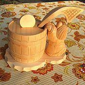 """Посуда handmade. Livemaster - original item Сахарница из дерева с ложкой """"Домовенок"""". Бочонок для мёда и специй. Handmade."""