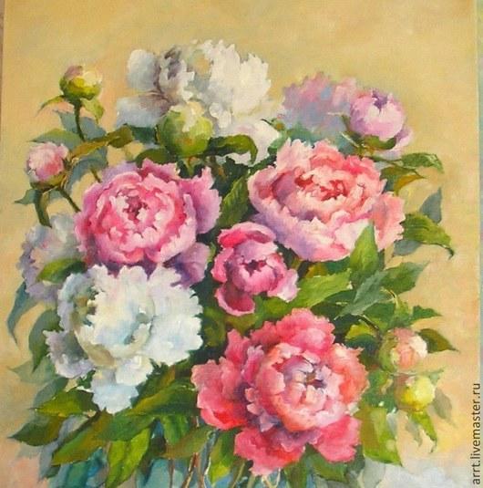 Картины цветов ручной работы. Ярмарка Мастеров - ручная работа. Купить Пионы розовые  Картина холст масло 50на40см. Handmade.
