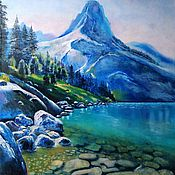 Картины и панно handmade. Livemaster - original item Pictures: Blue Lake-oil painting with blue mountains and lake. Handmade.