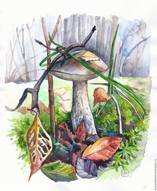 Картины цветов ручной работы. Ярмарка Мастеров - ручная работа. Купить Акварель. Осенний лес.. Handmade. Коричневый, лес, картина