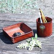 Канцелярские товары handmade. Livemaster - original item Desktop organizer set made of genuine leather for interior and office. Handmade.