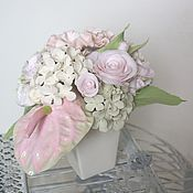 Цветы и флористика handmade. Livemaster - original item Bouquet pale pink. Flowers polymer clay handmade.. Handmade.