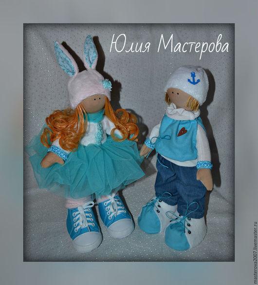 Куклы тыквоголовки ручной работы. Ярмарка Мастеров - ручная работа. Купить Кай и Герда. Handmade. Голубой, тильда принцесса, тыквоголовки