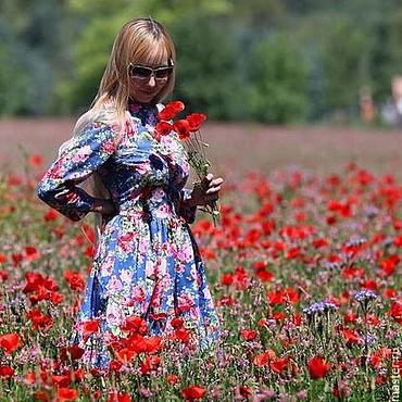 Одежда ручной работы. Ярмарка Мастеров - ручная работа Платье с пышной юбкой Цветочный букет осеннее зимнее теплое из фланели. Handmade.