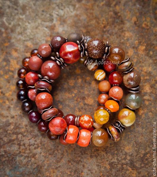 """Браслеты ручной работы. Ярмарка Мастеров - ручная работа. Купить Set """"Осенний бархат"""". Этнические браслеты с кораллом, янтарем, яшмой. Handmade."""