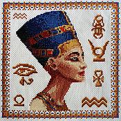 """Картины и панно ручной работы. Ярмарка Мастеров - ручная работа Вышивка крестиком """"Нефертити и Тутанхамон"""". Handmade."""