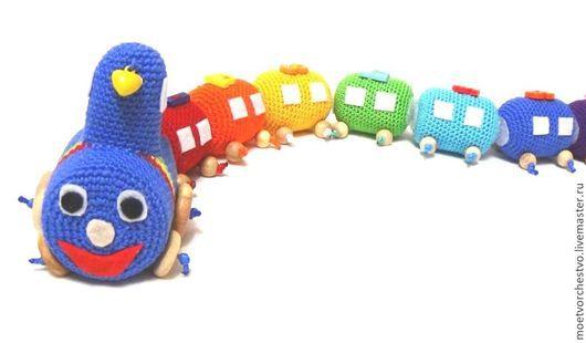 Развивающие игрушки ручной работы. Ярмарка Мастеров - ручная работа. Купить Развивающий радужный поезд. Handmade. Развивавающий поезд