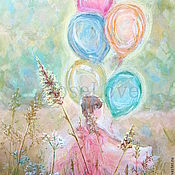 Картины и панно handmade. Livemaster - original item girl with balloons picture picture for children`s execution of desires. Handmade.