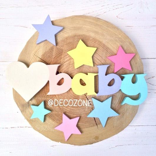 """Детская ручной работы. Ярмарка Мастеров - ручная работа. Купить """"Baby""""  Слово для декора детской комнаты. Handmade. Слова из дерева"""