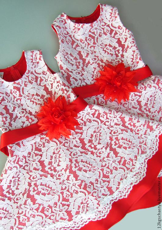 Одежда для девочек, ручной работы. Ярмарка Мастеров - ручная работа. Купить Детское платье красное кружевное. Handmade. Ярко-красный