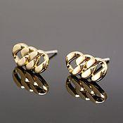 Материалы для творчества handmade. Livemaster - original item Earrings studs 12*6 mm gold plated th. Korea (4570). Handmade.