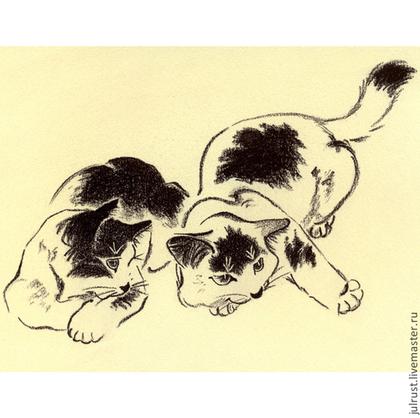 Животные ручной работы. Ярмарка Мастеров - ручная работа Картина Котята Играют рисунок углем графика кошки. Handmade.