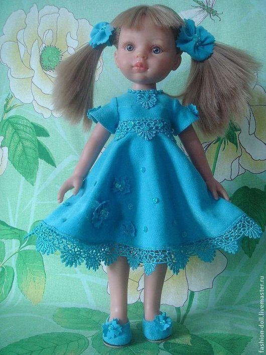 Одежда для кукол ручной работы. Ярмарка Мастеров - ручная работа. Купить Платье+обувь на куклу 32см. Paola Reina. Handmade. Голубой