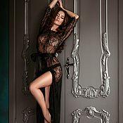 """Одежда ручной работы. Ярмарка Мастеров - ручная работа """"Запретный плод"""" - будуарное черное платье из кружева шантильи. Handmade."""