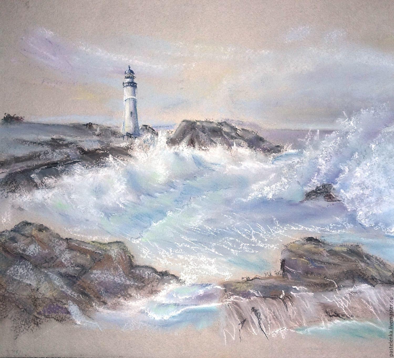 Картина пастелью Маяк (серый голубой морской пейзаж), Картины, Южноуральск,  Фото №1