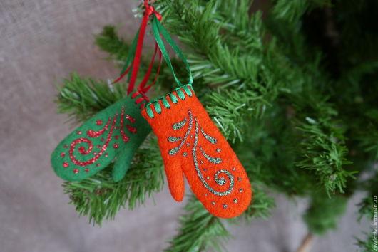 Сувениры ручной работы. Ярмарка Мастеров - ручная работа. Купить Cувенирные варежки Новогодние. Handmade. Ярко-красный, подарок