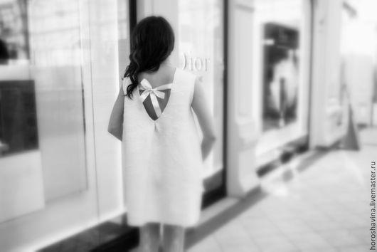 Платья ручной работы. Ярмарка Мастеров - ручная работа. Купить Платье нуновойлочное с нежным принтом. Handmade. Белый, праздничное платье