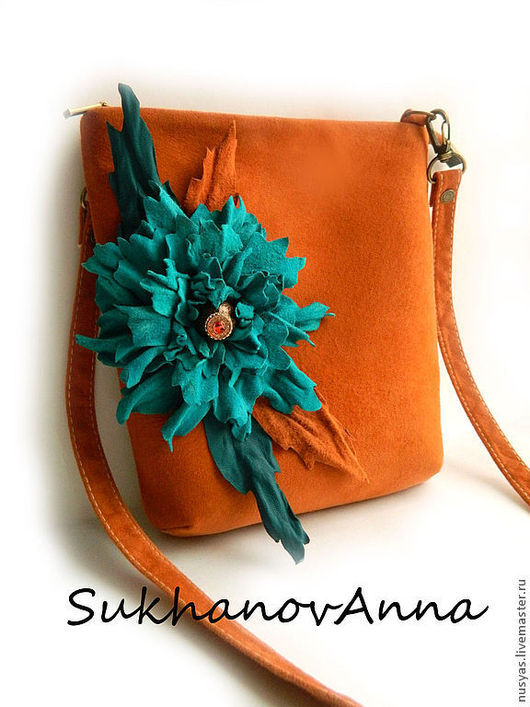 """Женские сумки ручной работы. Ярмарка Мастеров - ручная работа. Купить Сумка """"Лора"""". Handmade. Оранжевый, сумка с цветком, тропический"""