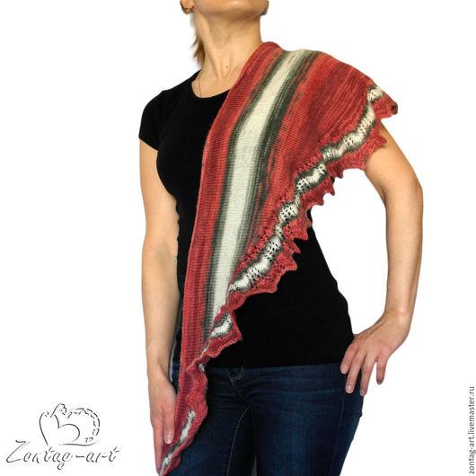 """Шали, палантины ручной работы. Ярмарка Мастеров - ручная работа. Купить Бактус """"Фламенко"""". Handmade. Бактус, на спицах, вязаный, маме"""
