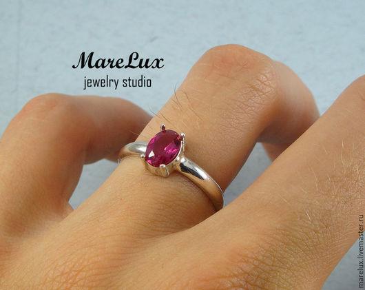 """Кольца ручной работы. Ярмарка Мастеров - ручная работа. Купить Кольцо """"Рубин овал"""" в серебре MareLux. Handmade. Ярко-красный"""