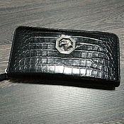 Сумки и аксессуары handmade. Livemaster - original item Men`s crocodile leather clutch, zipped, in black.. Handmade.