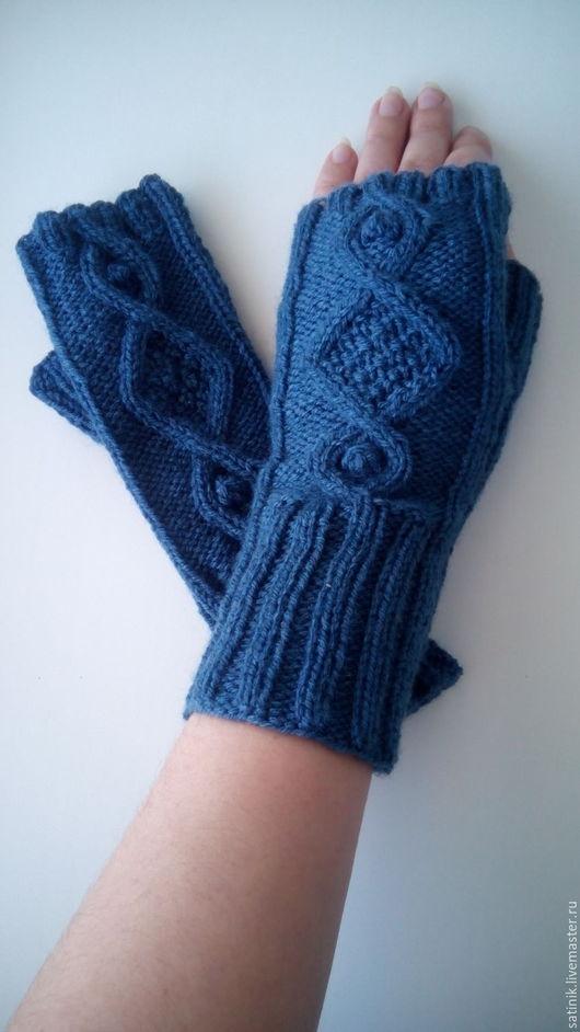 Варежки, митенки, перчатки ручной работы. Ярмарка Мастеров - ручная работа. Купить Митенки Синяя дымка. Handmade. Тёмно-синий