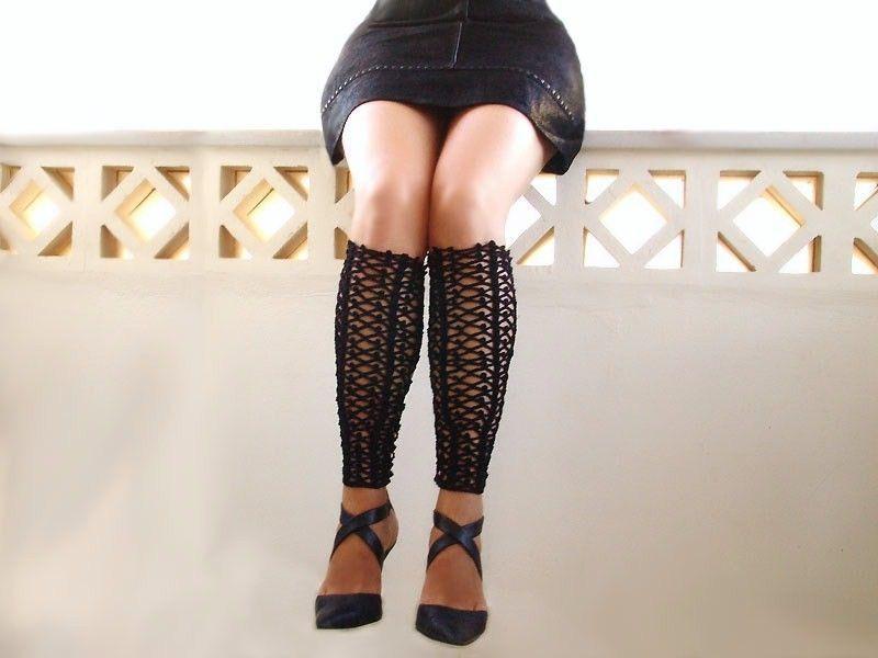 Ажурные чёрные гетры, шнуровка