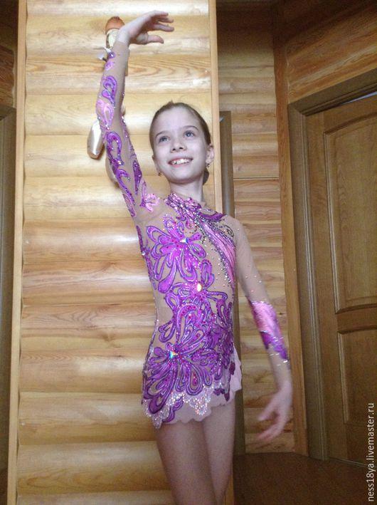 Детские танцевальные костюмы ручной работы. Ярмарка Мастеров - ручная работа. Купить Купальник для художественной гимнастики, танцевальный купальник, худож. Handmade.