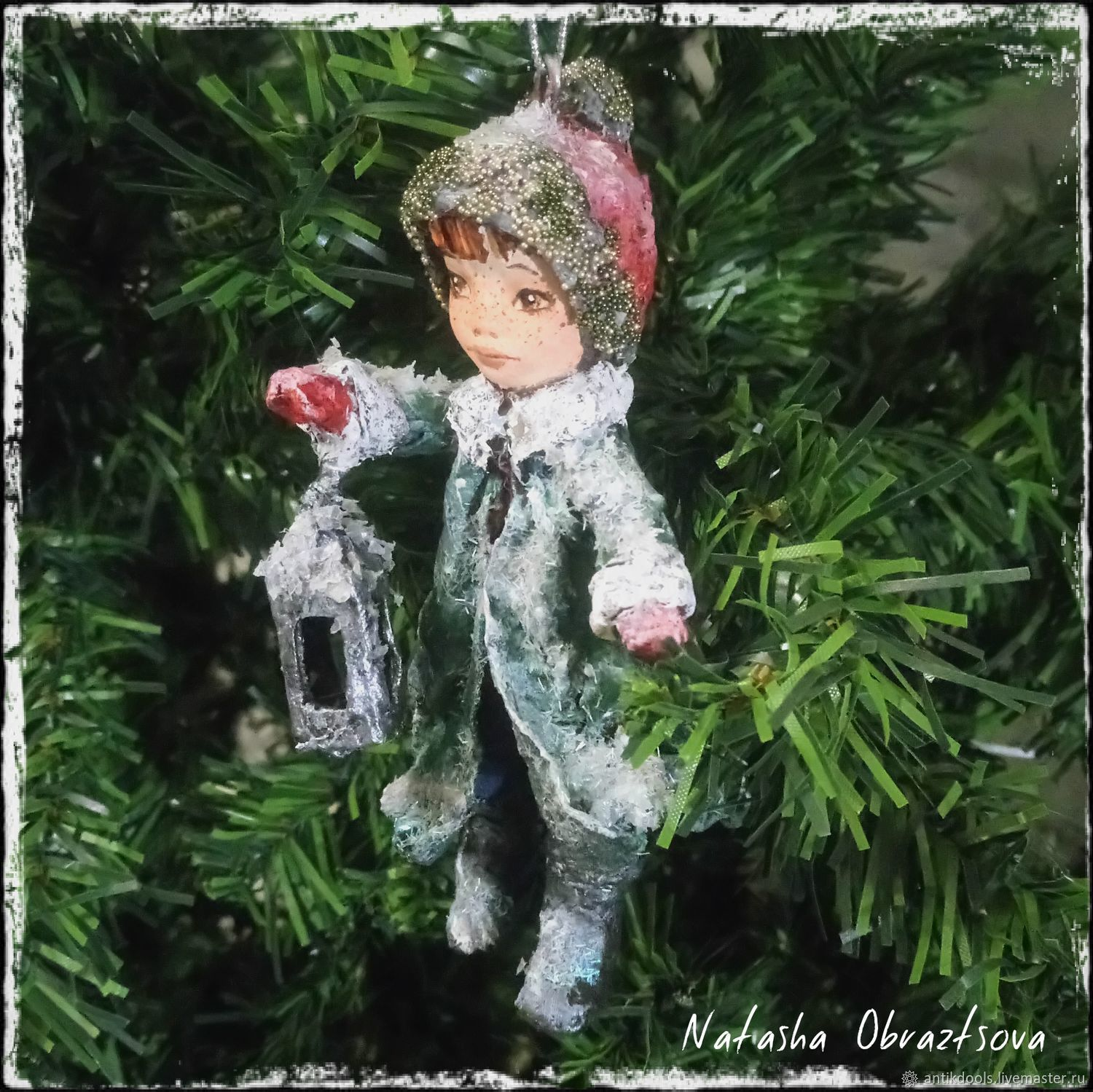 "Cotton Christmas toy ""Christmas lantern"" – shop online on Livemaster"