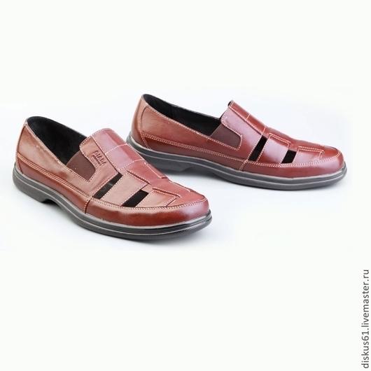 Обувь ручной работы. Ярмарка Мастеров - ручная работа. Купить Босоножки мужские М - 012_коричневые. Handmade. Коричневый, босоножки летние