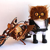 Куклы и игрушки handmade. Livemaster - original item Owl in the morning rocking the biker. Handmade.