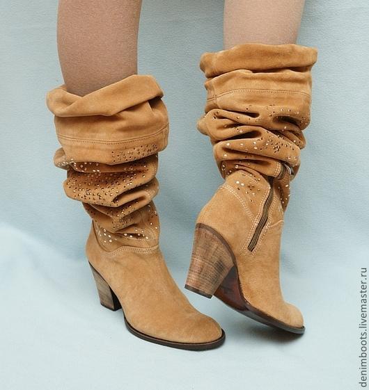 Обувь ручной работы. Ярмарка Мастеров - ручная работа. Купить Сапоги осенние замшевые, трансформеры. Handmade. Коричневый, бежевый