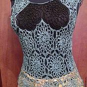 Одежда ручной работы. Ярмарка Мастеров - ручная работа Ажурная летняя майка, шелковая нить, вязание крючком. Handmade.