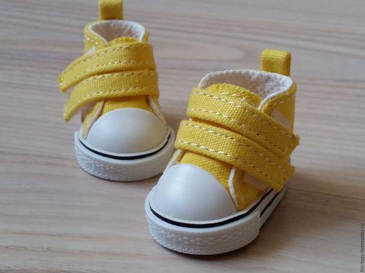 Кеды для игрушек 5 см. на липучках Жёлтые.  Обувь для кукол. Кеды для кукол
