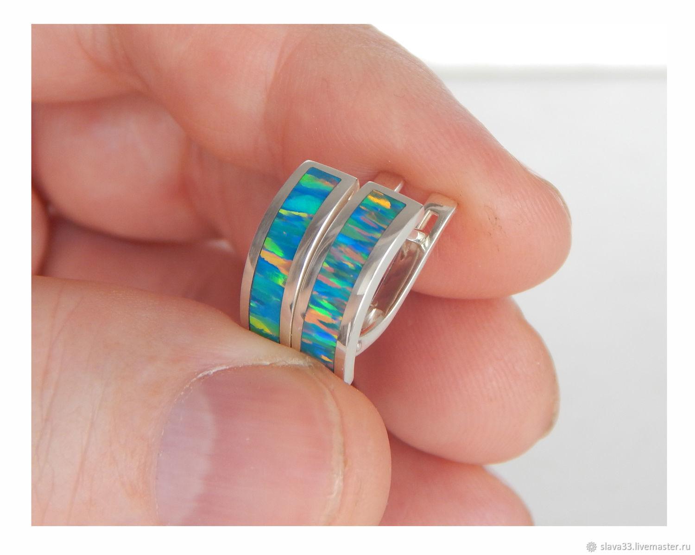 Silver earrings with opal, No. №4, Earrings, Vladimir,  Фото №1