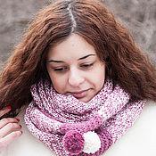 Аксессуары ручной работы. Ярмарка Мастеров - ручная работа Снуд вязаный (белый, розовый). Handmade.