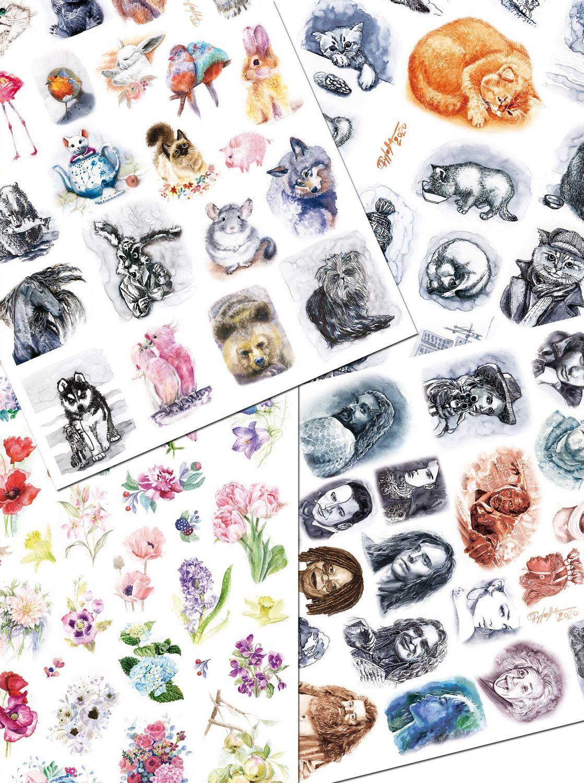 Наклейки,стикеры(4вида) Золотой кот.Портреты. Животные и птицы.Цветы, Наклейки, Москва,  Фото №1
