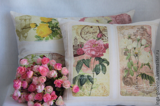 Текстиль, ковры ручной работы. Ярмарка Мастеров - ручная работа. Купить декоративные подушки Весна в Париже. Handmade. Разноцветный