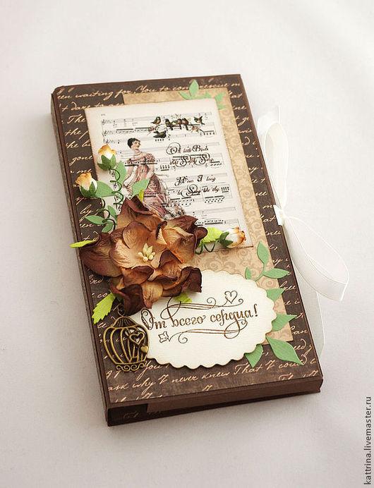 """Открытки для женщин, ручной работы. Ярмарка Мастеров - ручная работа. Купить 8 марта. Шоколадница с чаем """"Вкус шоколада"""" подарок на 8 марта. Handmade."""