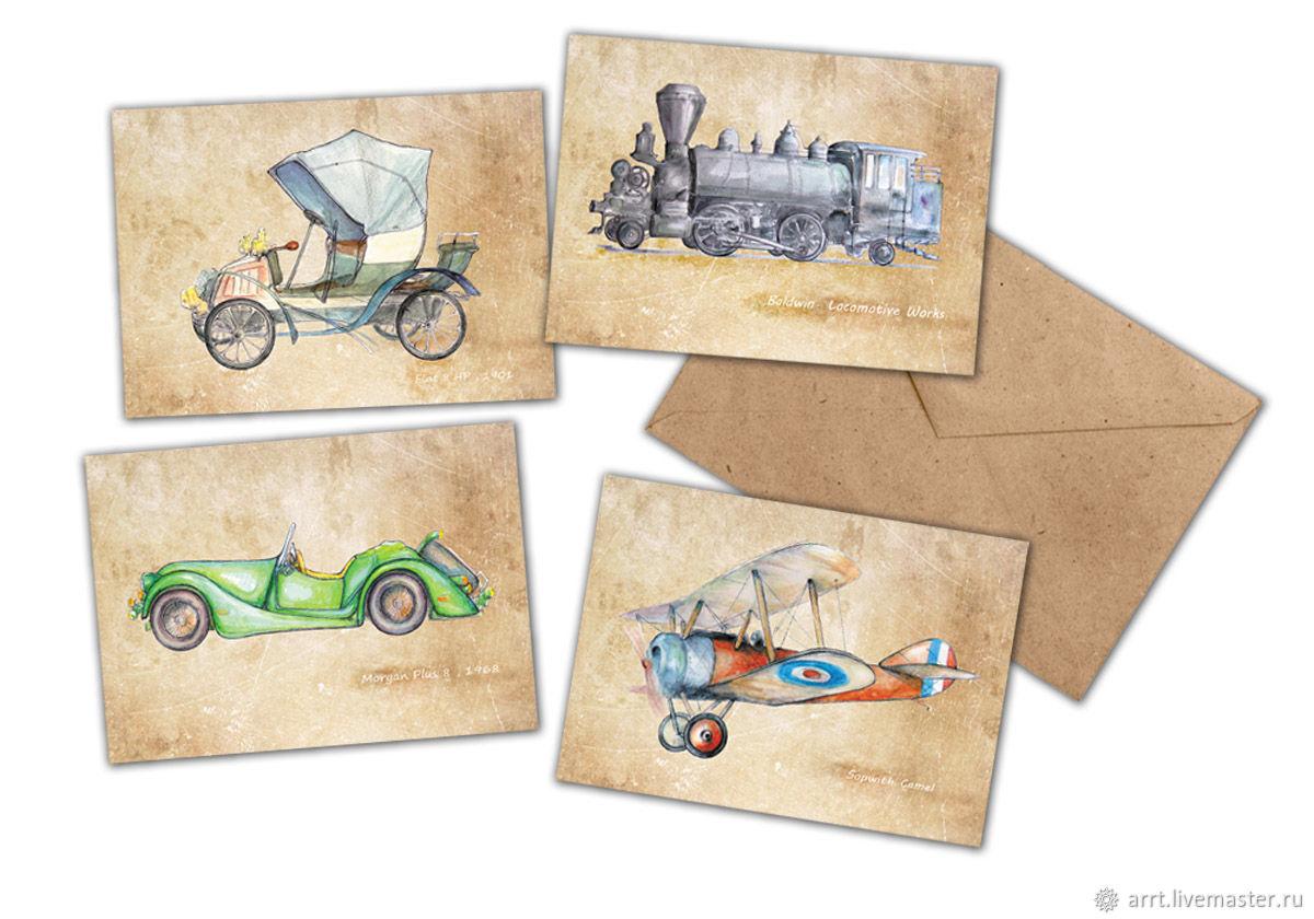 Открытка с транспортом, открытка для